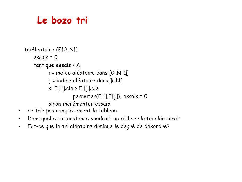 Le bozo tri triAleatoire (E[0..N[) essais = 0 tant que essais < A